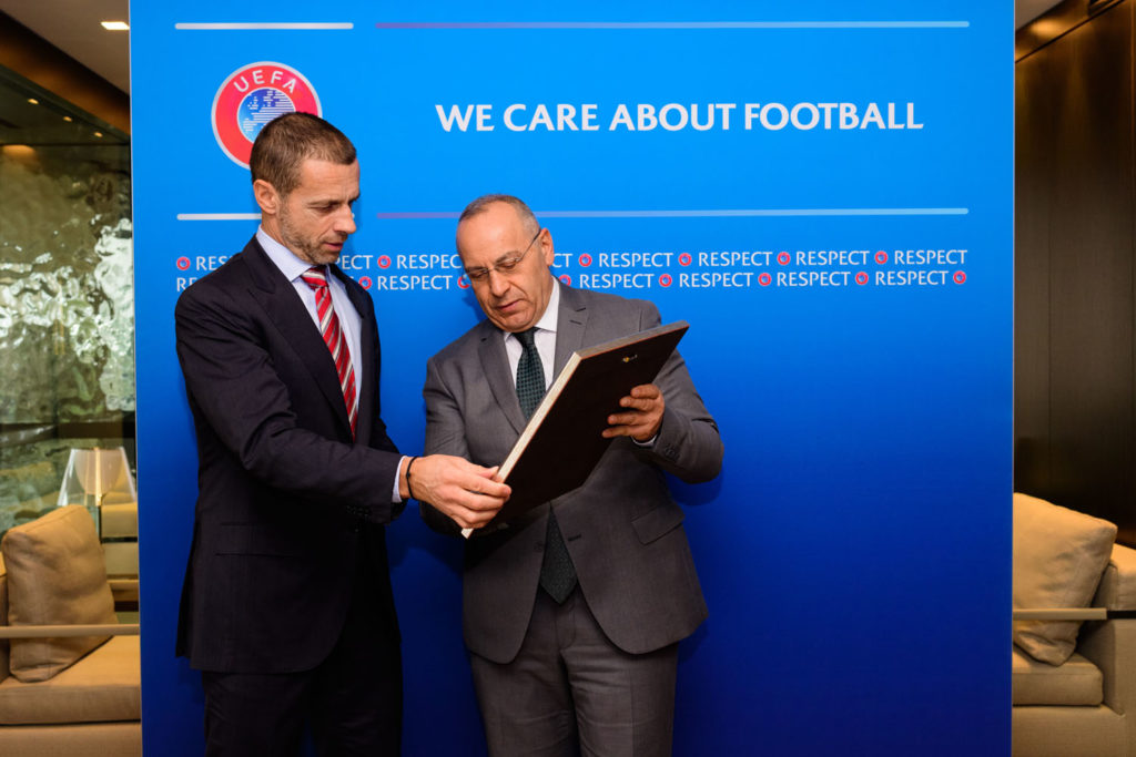 NYON, SWITZERLAND - DECEMBER 12:  UEFA President Aleksander Ceferin meeting with Kosovo Football Federation (FFK) President Agim Ademi at the UEFA headquarters, the House of European Football on December 12, 2018 in Nyon, Switzerland. (Photo by Harold Cunningham - UEFA/UEFA via Getty Images)