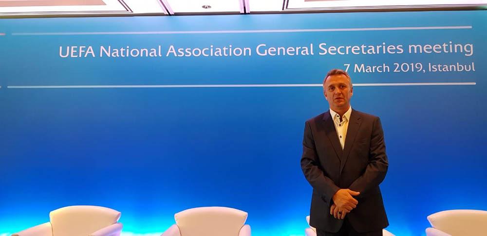Sekretari i përgjithshëm, Eroll Salihu po merr pjesë në Mitingun e UEFA-s